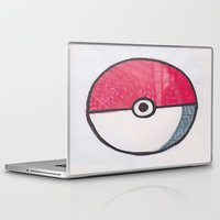 pokeball Laptop & iPad Skins featuring Pokeball Zentangle by Amanda Brooks