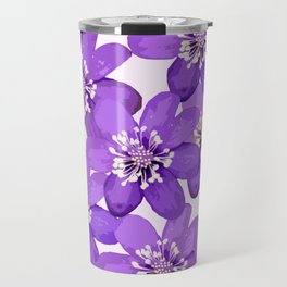 Purple wildflowers on a white background - spring atmosphere Travel Mug