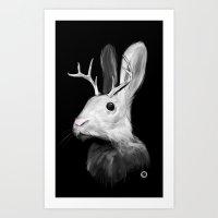jackalope Art Prints featuring Jackalope by Adam Dunt