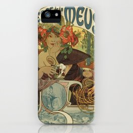 Alfons Mucha art nouveau beer ad iPhone Case