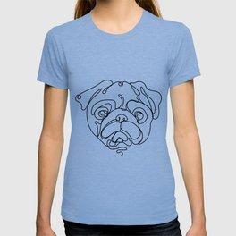 Minimal art single line cute pug face linear illustration T-shirt