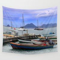 boats Wall Tapestries featuring Boats by Jessica Krzywicki