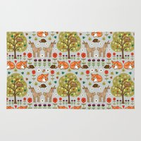 wild things Area & Throw Rugs featuring Woodland Wild Things by Angie Spurgeon