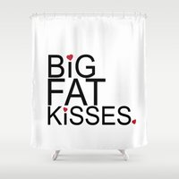psych Shower Curtains featuring big fat kisses, shawn and julia, psych by studiomarshallarts