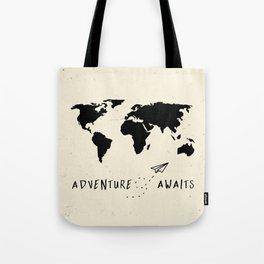 Adventure Map - Vintage Black Tote Bag