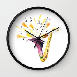 Watercolor Saxophone, Musical Instrument Wall Clock