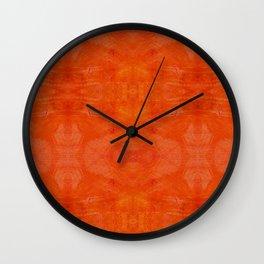 Aztec in orange Wall Clock