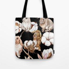 Cotton Flower & Rabbit Pattern on Black 01 Tote Bag