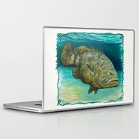 biology Laptop & iPad Skins featuring Goliath Grouper ~ Watercolor by Amber Marine