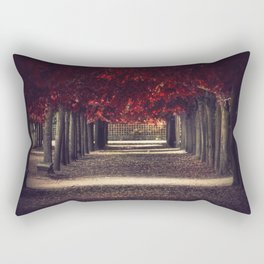 Red colors of autumn, surreal photo, red trees, alley in a park Rectangular Pillow