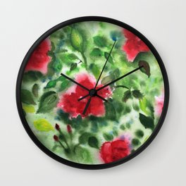 Red Roses Wall Clock