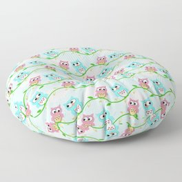 Cute Pink Teal White Pastel blue Green Litlle Owl Floor Pillow