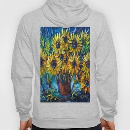 Sunflowers In A Vase Palette Knife Painting Hoody
