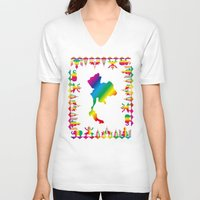 thailand V-neck T-shirts featuring Rainbow Thailand by FACTORIE