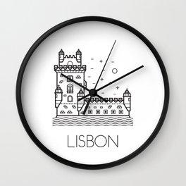 Belém Tower Lisbon Portugal Black and White Wall Clock