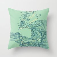 huebucket Throw Pillows featuring Ocean Breath by Huebucket
