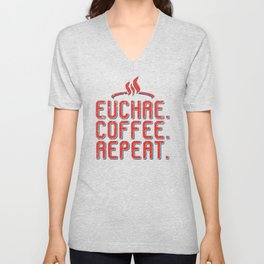Euchre Player Best Card Player Coffee Pun Players Gift design Unisex V-Neck