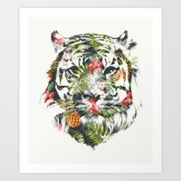 tropical Art Prints featuring Tropical tiger by Robert Farkas