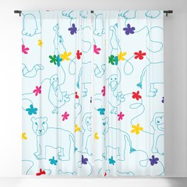 Blue animals lineart pattern Blackout Curtain