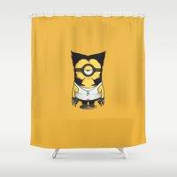 minions Shower Curtains featuring X-MINION by bimorecreative