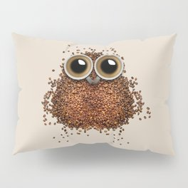 Coffee beans and cups forming owl Pillow Sham
