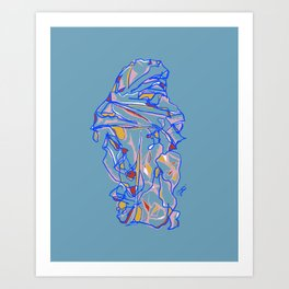 Composition of Blue, Red, Yellow - Colorful Contour Line Drawing Art Print