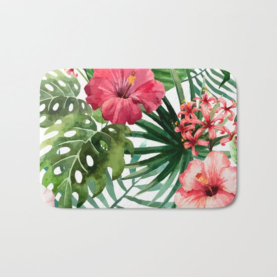 Tropical Hibiscus Bath Mat By Huntleigh Society6