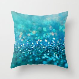 Teal turquoise blue shiny glitter print effect - Sparkle Luxury Backdrop Throw Pillow