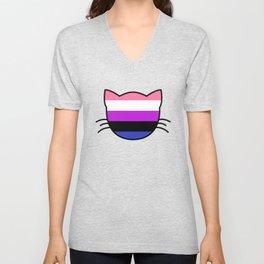 Genderfluid Flag Cat Unisex V-Neck