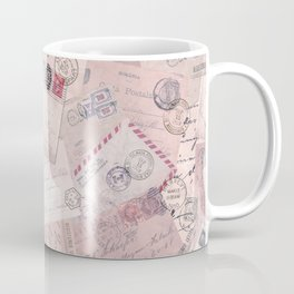 Nostalgic Letter and Postcard Collage Soft Pink Coffee Mug
