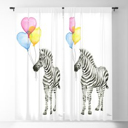 Zebra Watercolor With Heart Shaped Balloons Blackout Curtain