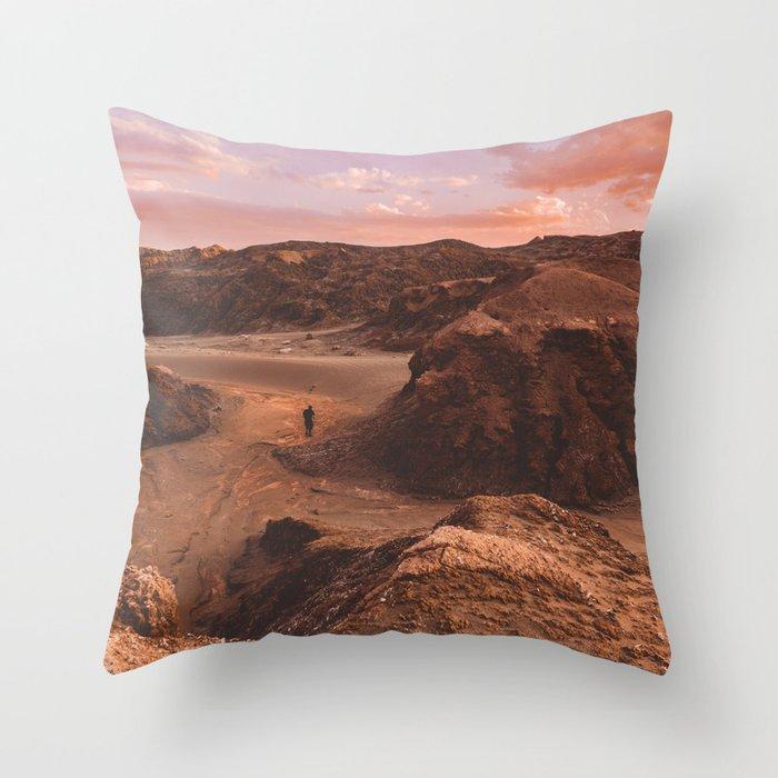 Sunset in Valle De La Luna, Chile Throw Pillow