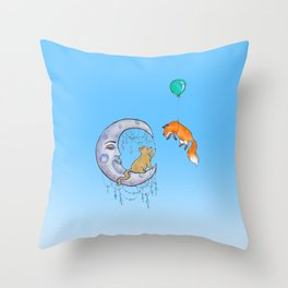 The fox and the cat Throw Pillow