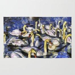Swans Vincent Van Gogh Rug