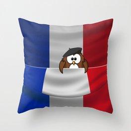 Frenchy owl Throw Pillow