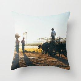 Burmese Farmers Throw Pillow