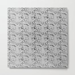 Hipster Elements Pattern Metal Print