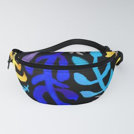 Matisse Inspired Watercolor Pattern (Blue, Purple, Violet, Yellow, and Gray on Black Background) Fanny Pack