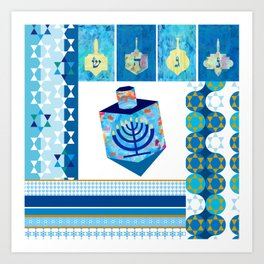 happy hanukkah dreidel Art Print