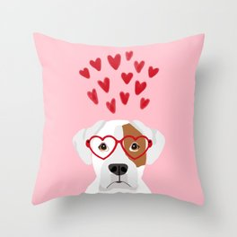 Boxer heart glasses hearts valentines day cute dog gifts rescue dog pure breed boxers Throw Pillow