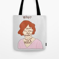 breakfast club Tote Bags featuring The Breakfast Club - Claire by Swell Dame