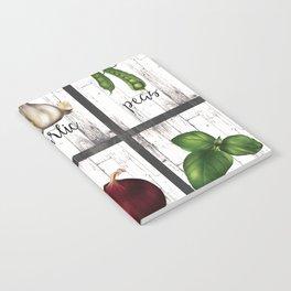 Rustic White Wood Herbs & Garden Vegetables Notebook