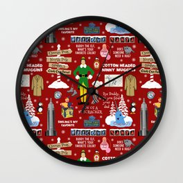 Buddy the Elf collage, Red background Wall Clock