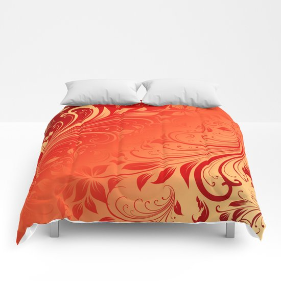 Orange red swirls leaves  Comforters