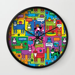 Colorful Cats Wall Clock