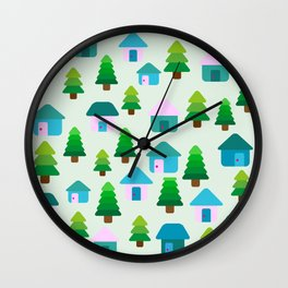Home in Baby Mint Wall Clock