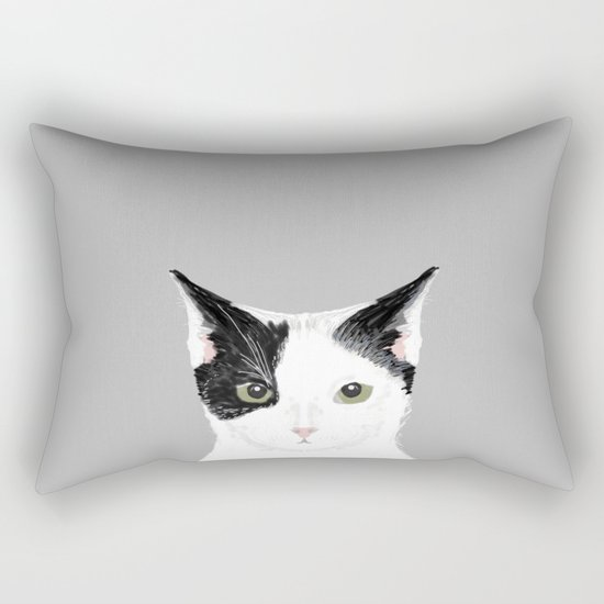 Manny - Black and white cute cat gift cat person cat lady funny cat meme pet portraits customizable  Rectangular Pillow