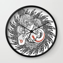 Ganesha Lineart Black Wall Clock