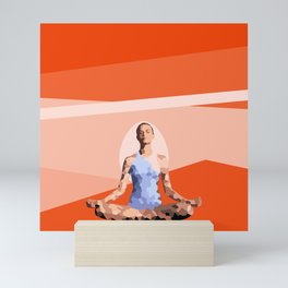 Feminine energy. A woman meditates in the Lotus position. Abstract orange painting. Mini Art Print