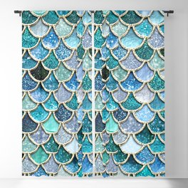 Multicolor Aqua Mermaid Scales - Beautiful Abstract Glitter Pattern Blackout Curtain